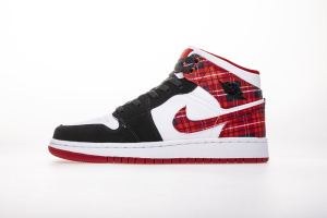 "Air Jordan 1 Mid GS""White Plaid"" 554725-607"