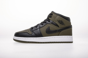 Air Jordan 1 MID(GS) 554725-301 Olive CanvasBlackWhite